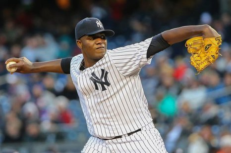 Apr 16, 2014; Bronx, NY, USA; New York Yankees starting pitcher Michael Pineda (35) delivers a pitch during the first inning against the Chi