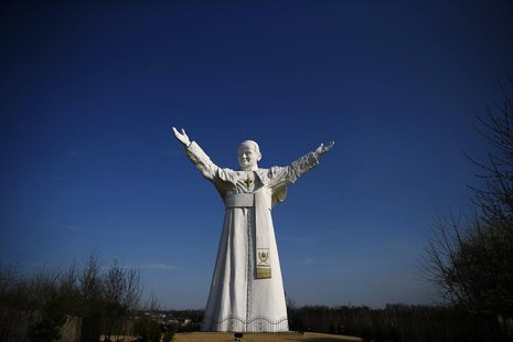 A monument of the late Pope John Paul II stands in Czestochowa, southern Poland April 2, 2014. REUTERS/Kacper Pempel