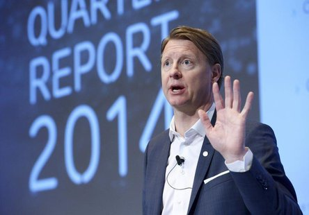 Ericsson Chief Executive Hans Vestberg speaks during a news conference at the company's headquarter in Stockholm April 23, 2014. REUTERS/Jan