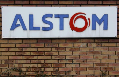 The logo of French power and transport engineering company Alstom is pictured on a wall of the company's plant in Reichshoffen near Haguenau