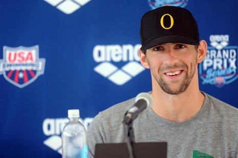 Apr 24, 2014; Mesa, AZ, USA; Michael Phelps addresses the media after the men's 100m butterfly race at the 2014 USA Swimming Grand Prix Seri