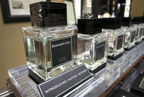 Bottles of Ermenegildo Zegna Hatian Vetiver is pictured on display at a high end retail store in New York April 15, 2014. REUTERS/Carlo Alle
