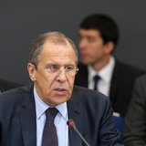 Foreign Minister of Russia Sergei Lavrov (front) delivers a speech during the Caspian Sea littoral states conference in Moscow, April 22, 20