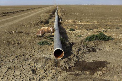An irrigation pipe is seen on a farm near Cantua Creek, California February 14, 2014. REUTERS/Robert Galbraith