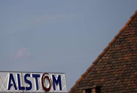 The logo of French power and transport engineering company Alstom is pictured on the roof of the company's plant in Reichshoffen near Haguen