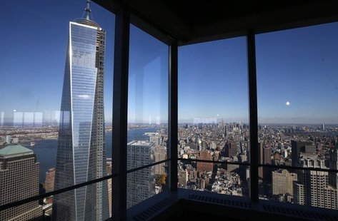 A view of the One World Trade Center tower and the Manhattan skyline is seen from the 68th floor of the soon to be opened 4 World Trade Cent