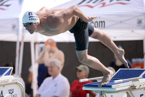 Apr 24, 2014; Mesa, AZ, USA; Ryan Lochte swims during the men's 100m freestyle event at Skyline Aquatic Center. Joe Camporeale-USA TODAY Spo
