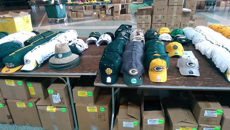 Some of the items available at the annual Packers Pro Shop tent sale. (Copyright Midwest Communications, Inc.)