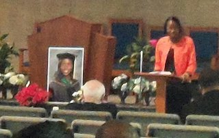 Bronson Hospital Chaplin Kenita Spencer speaks at the service for Dr. Teleka Patrick.