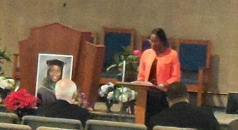 Bronson Hospital Chaplain Kenita Spencer speaks at Dr. Teleka Patrick's memorial service in Parchment.