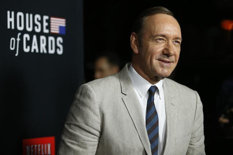 "Cast member Kevin Spacey poses at the premiere for the second season of the television series ""House of Cards"" at the Directors Guild of Ame"