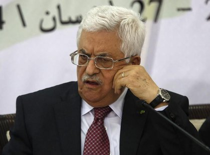 Palestinian President Mahmoud Abbas attends a meeting with the Palestinian Liberation Organization's (PLO) central council in the West Bank