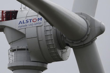 View of a Haliade 150 offshore wind turbine at Alstom's offshore wind site in Le Carnet, on the Loire Estuary, near Saint Nazaire, western F