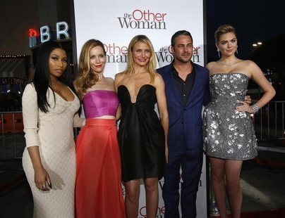 "Cast members (from L-R) Nicki Minaj, Leslie Mann, Cameron Diaz, Taylor Kinney and Kate Upton pose at the premiere of the film ""The Other Wom"
