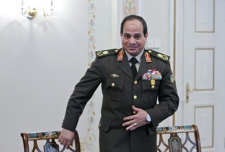 Former Egyptian Army chief Field Marshal Abdel Fattah al-Sisi arrives for a meeting with Russian President Vladimir Putin at the Novo-Ogaryo