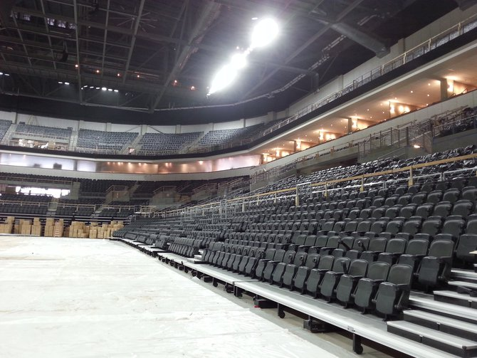 Another angle of the floor and seating. The main stage for some shows will be located near the spot where this photo was taken.