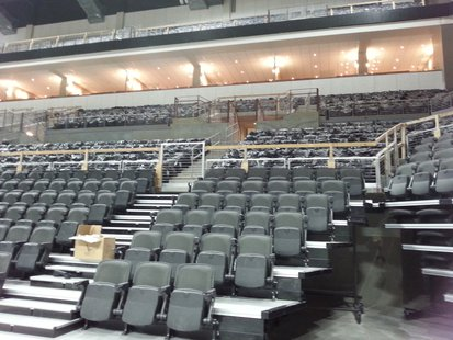 Great view of the tiered seating. The lower tier is retractable. The second tier consists of club and club-type seats. The lighted third is the luxury suite area. The fourth tier above can be curtained off for smaller events.