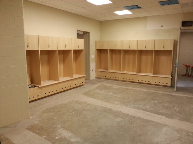 The locker room for visiting hockey teams. The center has eight additional locker rooms for state basketball and Summit League tournaments.
