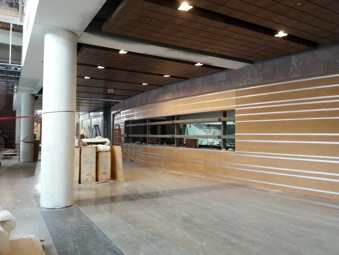 There's a beautiful wood work on walls and ceilings, as well as polished cement in the new center. It's going to be stunning!
