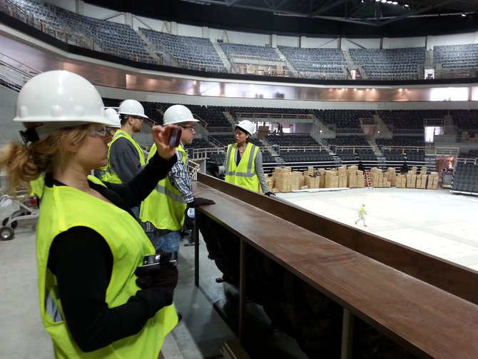 This is the bar at the club area. There will be stools at the bar once completed. The actual club seats are on the other side of the bar (at right). Club seat patrons will be able to order food right from their seats.