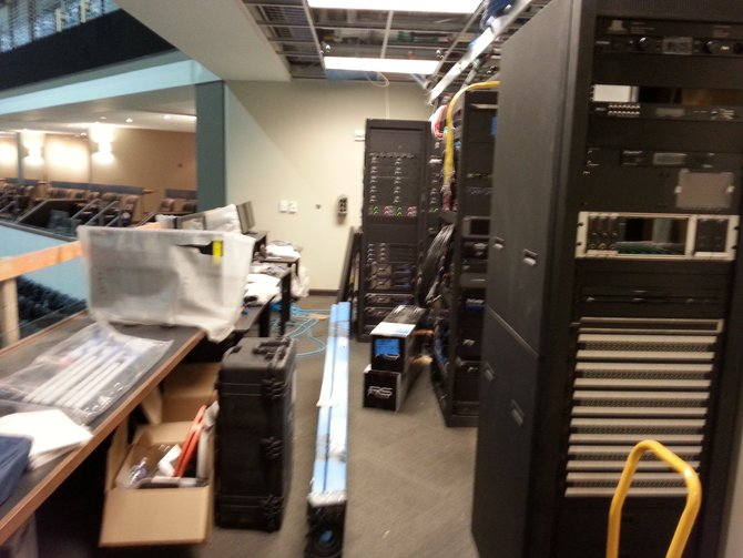 This is the control room where the large Daktronics video scoreboards will be controlled.