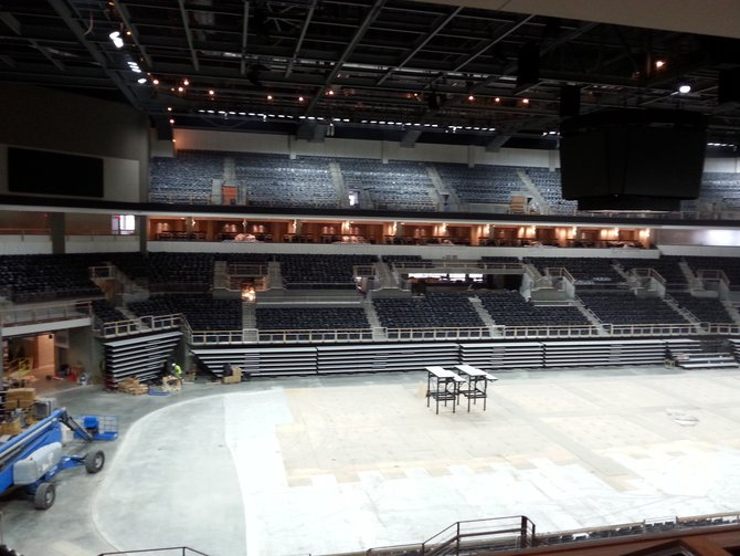 Another view of the floor and tiered seating. The bottom tier of seats can be folded in, as seen in the photo. The Sanford Premier Center can seat 12,000... 8,000 in the three lower sections and 4,000 in the top tier.