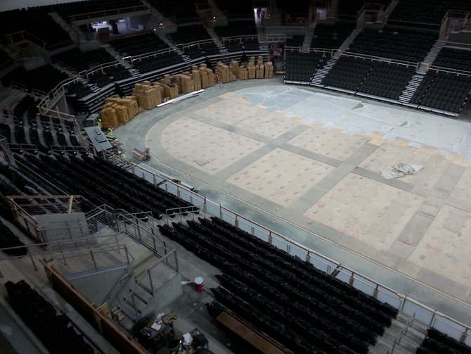 This is the view from the top tier of seats! If you look closely at the floor, you can see where the sheet of ice will be laid for Sioux Falls Stampede Hockey and other ice shows!
