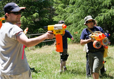 A game of Nerf Wars in Haig Park Canberra By OzAdr1an from Canberra, Australia (_IMG6839) [CC-BY-2.0 (http://creativecommons.org/licenses/by/2.0)], via Wikimedia Commons