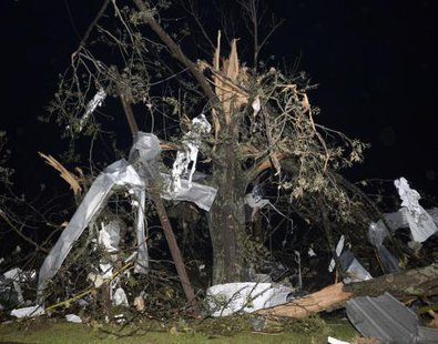 Debris hangs from a tree after a tornado hit the town of Mayflower, Arkansas around 7:30 pm CST, late April 27, 2014.  CREDIT: REUTERS/GENE BLEVINS