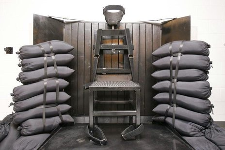 The execution chamber at the Utah State Prison is seen after Ronnie Lee Gardner was executed by a firing squad in Draper June 18, 2010. REUT