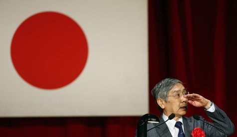 Bank of Japan Governor Haruhiko Kuroda gestures as he speaks during a seminar in Tokyo March 20, 2014. REUTERS/Yuya Shino