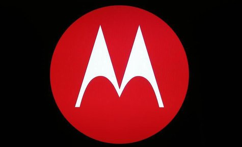 A Motorola Mobility logo is seen on a screen at the public unveiling of their global headquarters in Chicago, Illinois, April 22, 2014. REUT