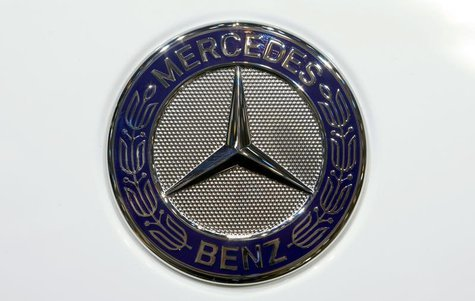 The company logo is seen on the bonnet of a Mercedes Benz car during the media day ahead of the 84th Geneva Motor Show at the Palexpo Arena