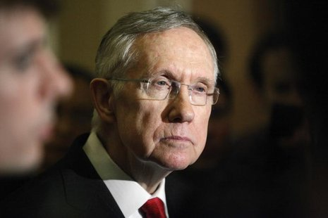 U.S. Senate Majority Leader Harry Reid (D-NV) answers questions from reporters after the weekly Republican caucus luncheon at the U.S. Capit