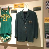 Bill Butler's Green Bay Packers basketball uniform and 1959 Packers team blazer at the Neville Public Museum in Green Bay, Tuesday, April 29, 2014. (Photo from: FOX 11.)