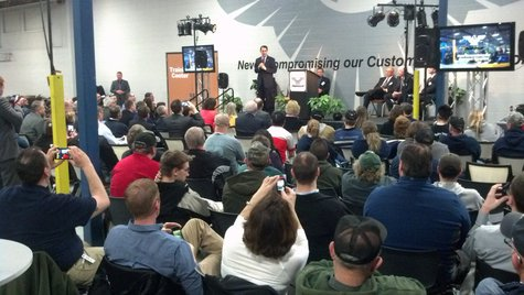 Gov. Scott Walker speaks at Amerequip in Kiel on Tuesday, April 29, 2014. (Photo from: FOX 11).