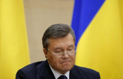 Ousted Ukrainian President Viktor Yanukovich takes part in a news conference in the southern Russian city of Rostov-on-Don February 28, 2014