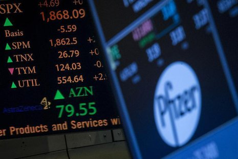 The ticker symbol for AstraZeneca is displayed next to a ticker for Pfizer on the floor of the New York Stock Exchange April 28, 2014. REUTE