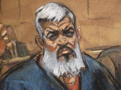 Abu Hamza al-Masri, the radical Islamist cleric facing U.S. terrorism charges, sits with his legal team in Manhattan federal court in New Yo