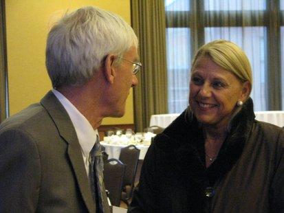 State Superintendent of Public Instruction Dr. Tony Evers talks with Wausau Superintendent Dr. Kathleen Williams