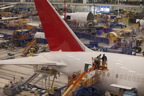 Workers at South Carolina Boeing construct a 787 Dreamliner for Air India at the plant's final assembly building in North Charleston, South