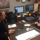 Attorney General candidate Jon Richards (left) sits down for an interview with Rusty Mehlberg in the WHBL newsroom.