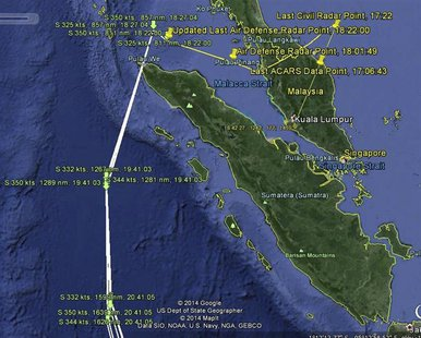 A map shows the possible path of Malaysia Airlines flight MH370 as released to Reuters by the Malaysian Transport Ministry May 1, 2014. REUT