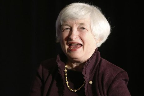 U.S. Federal Reserve Chair Janet Yellen smiles during applause after her speech before the Independent Community Bankers of America 2014 Was
