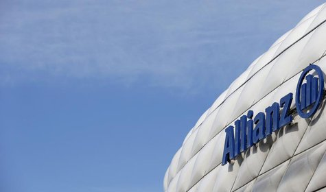 The logo of Europe's biggest insurer Allianz SE is pictured at the Allianz Arena soccer stadium in Munich February 26, 2014. REUTERS/Michael