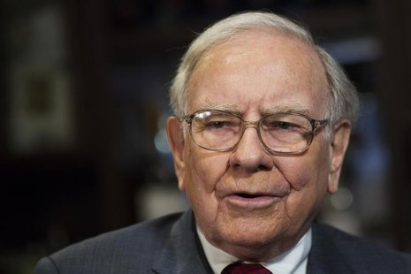 Investor Warren Buffett poses for a portrait during an interview after a luncheon to benefit the Glide Foundation of San Francisco in New Yo
