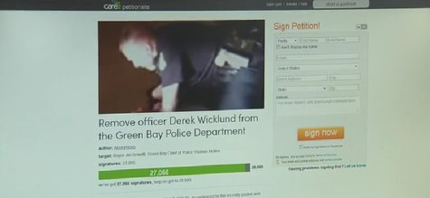 Screenshot of an online petition looking for the removal of Green Bay Police Officer Derek Wicklund from the department. (Photo from: FOX 11/YouTube).