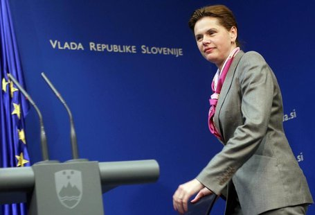 Slovenia's Prime Minister Alenka Bratusek arrives during a news conference in Ljubljana April 29, 2014. REUTERS/Srdjan Zivulovic