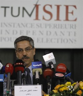 Chafik Sarsar, head of the Independent Election Commission (ISIE) speaks during a news conference in Tunis March 26, 2014. REUTERS/Zoubeir S