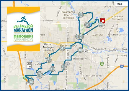 The route for the Marathon stretches from the Northeast side of town to the Southwest  corner.